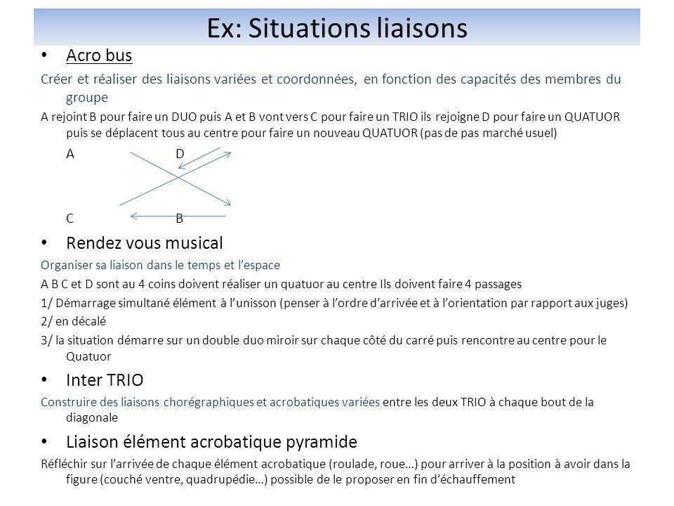 Ex: Situations liaisons
