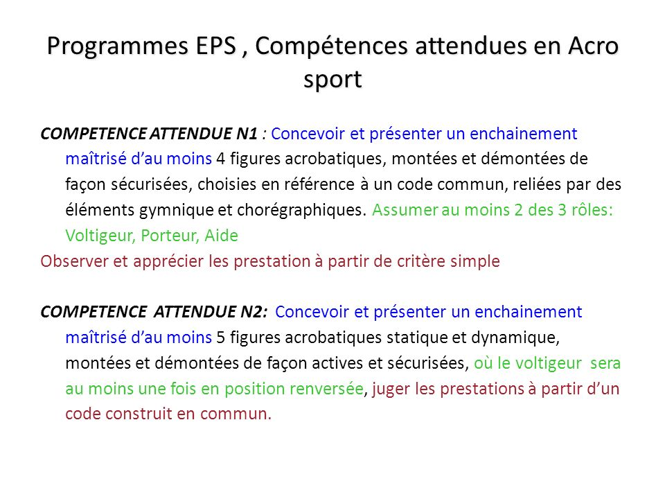 Programmes EPS , Compétences attendues en Acro sport
