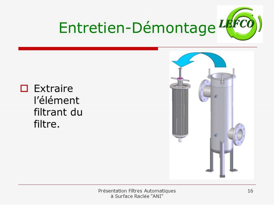 Présentation Filtres Automatiques à Surface Raclée ANI