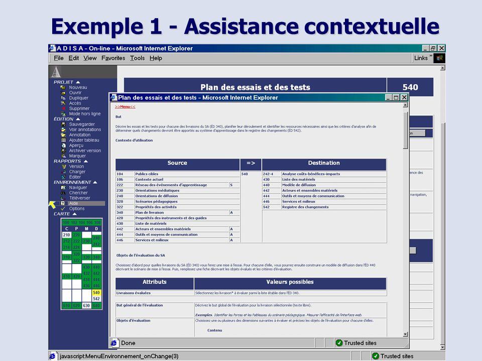 Exemple 1 - Assistance contextuelle