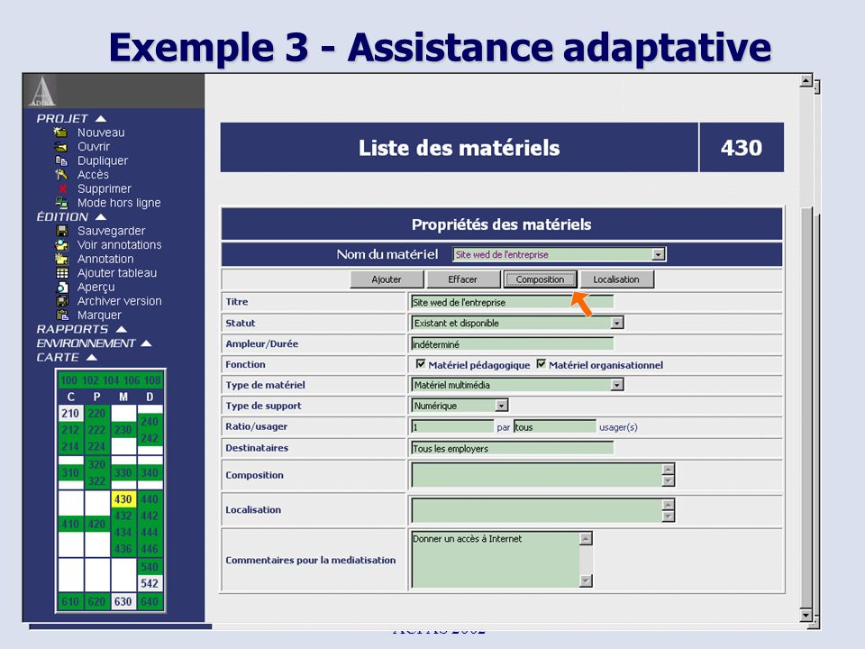 Exemple 3 - Assistance adaptative