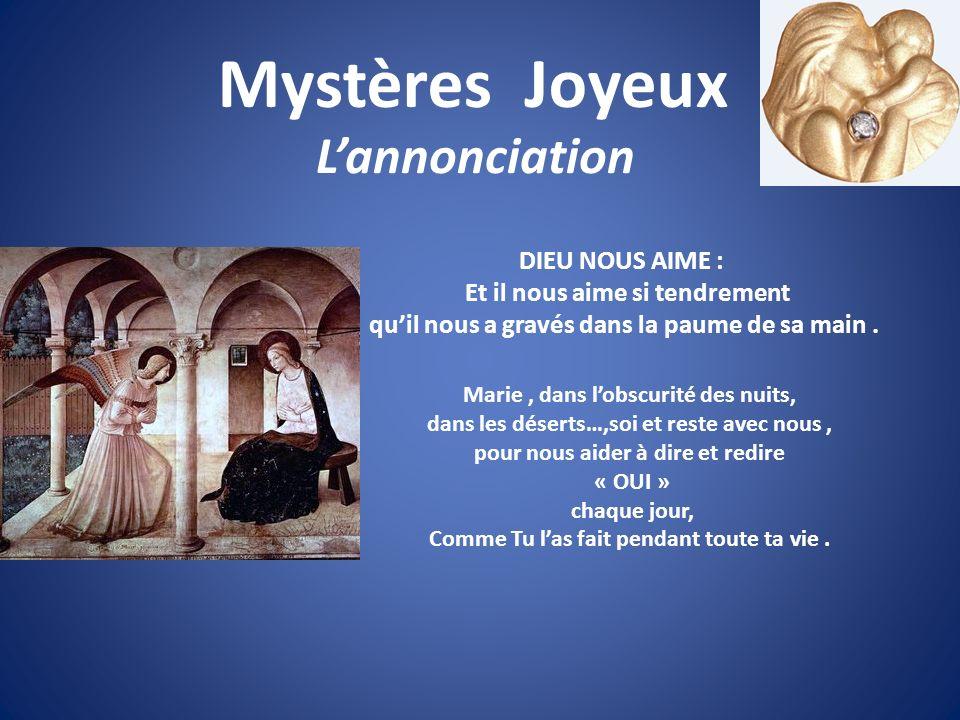 Mystères Joyeux L'annonciation DIEU NOUS AIME :