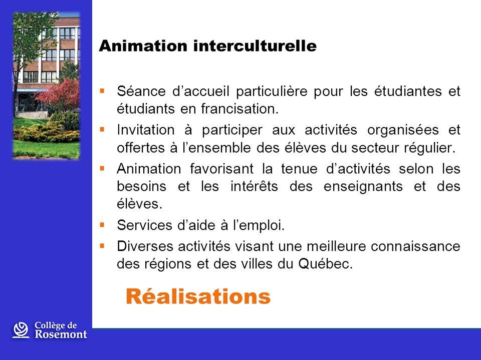 Réalisations Animation interculturelle