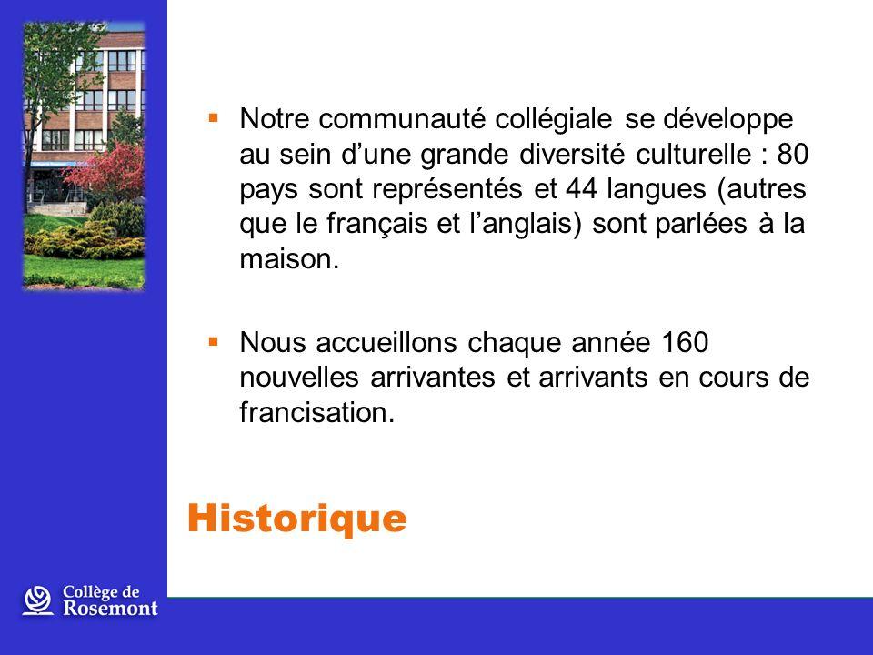 Notre communauté collégiale se développe au sein d'une grande diversité culturelle : 80 pays sont représentés et 44 langues (autres que le français et l'anglais) sont parlées à la maison.