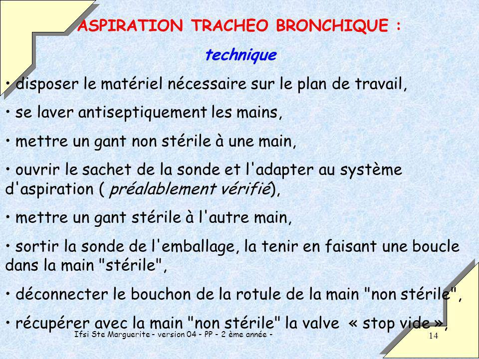 ASPIRATION TRACHEO BRONCHIQUE :