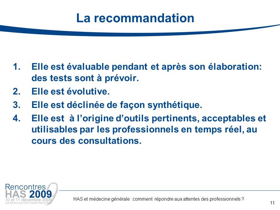 La recommandation Elle est évaluable pendant et après son élaboration: des tests sont à prévoir. Elle est évolutive.
