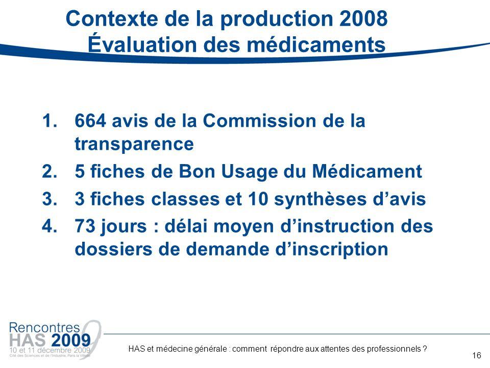 Contexte de la production 2008 Évaluation des médicaments