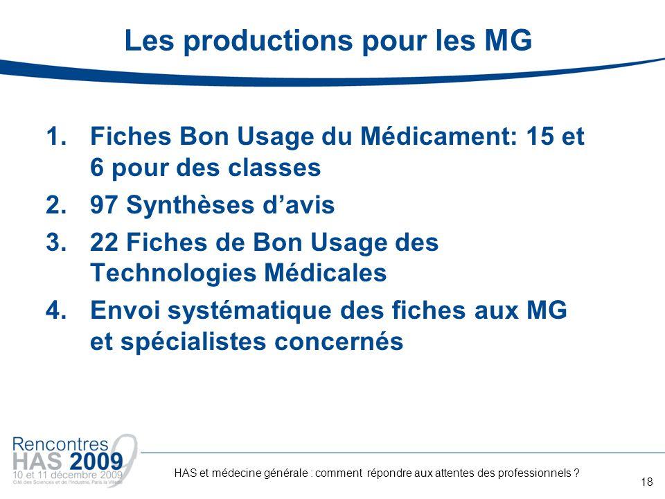 Les productions pour les MG