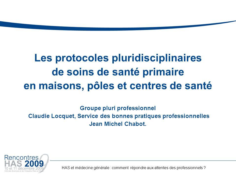 Les protocoles pluridisciplinaires de soins de santé primaire