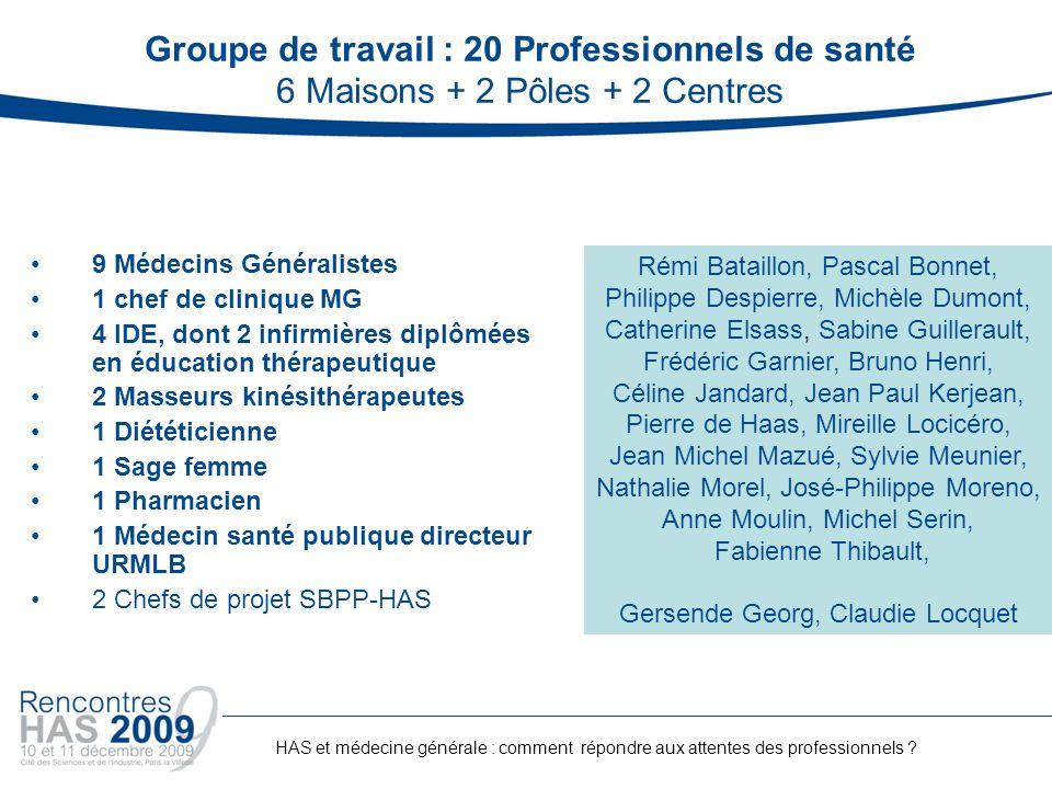 Groupe de travail : 20 Professionnels de santé