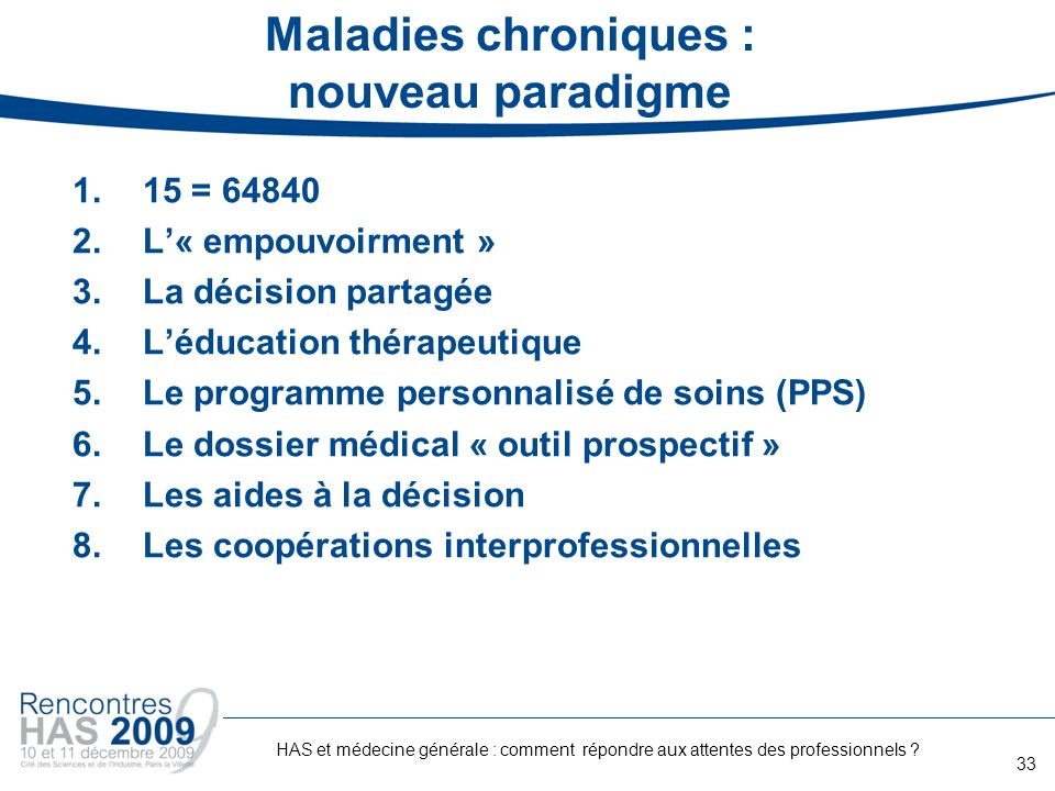 Maladies chroniques : nouveau paradigme