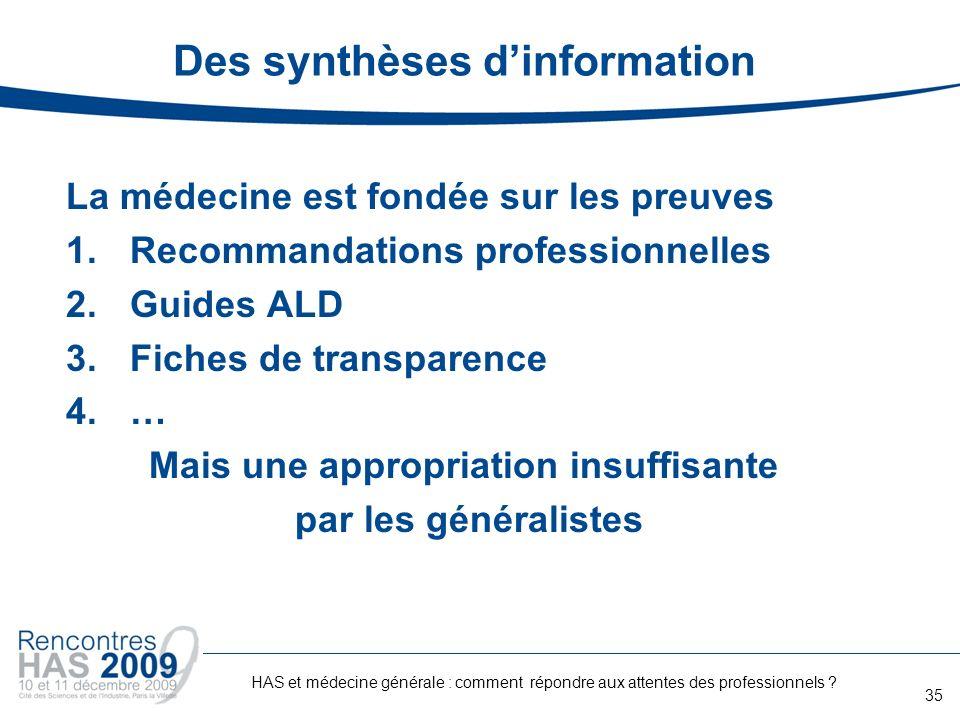 Des synthèses d'information