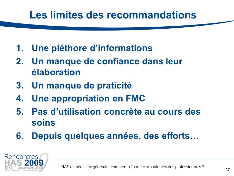 Les limites des recommandations