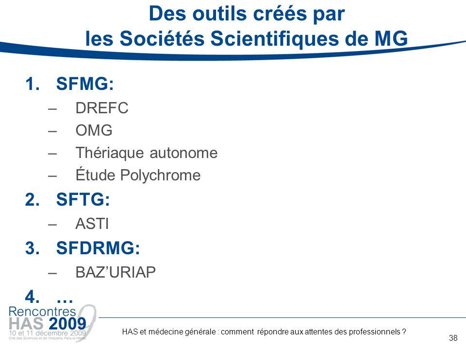 Des outils créés par les Sociétés Scientifiques de MG