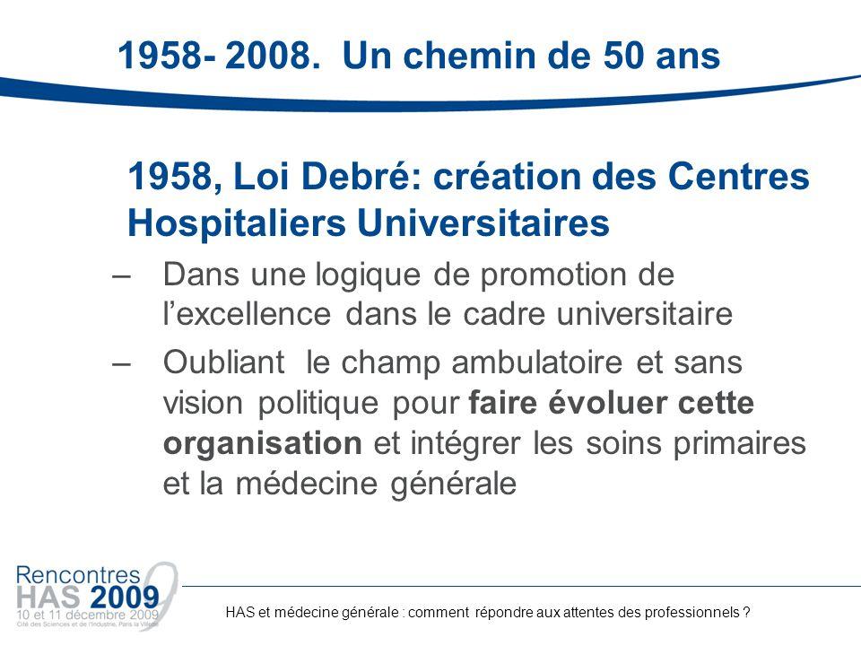 1958, Loi Debré: création des Centres Hospitaliers Universitaires