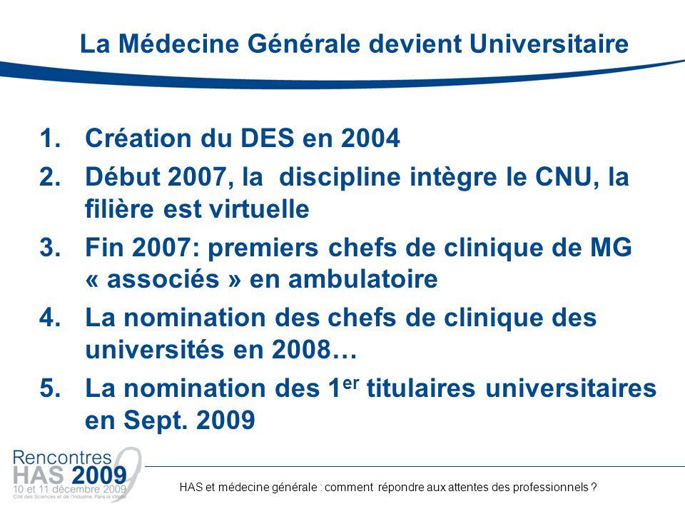 La Médecine Générale devient Universitaire