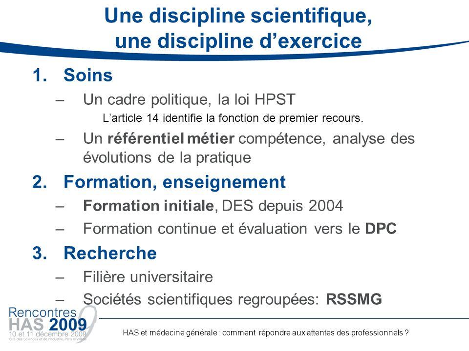 Une discipline scientifique, une discipline d'exercice
