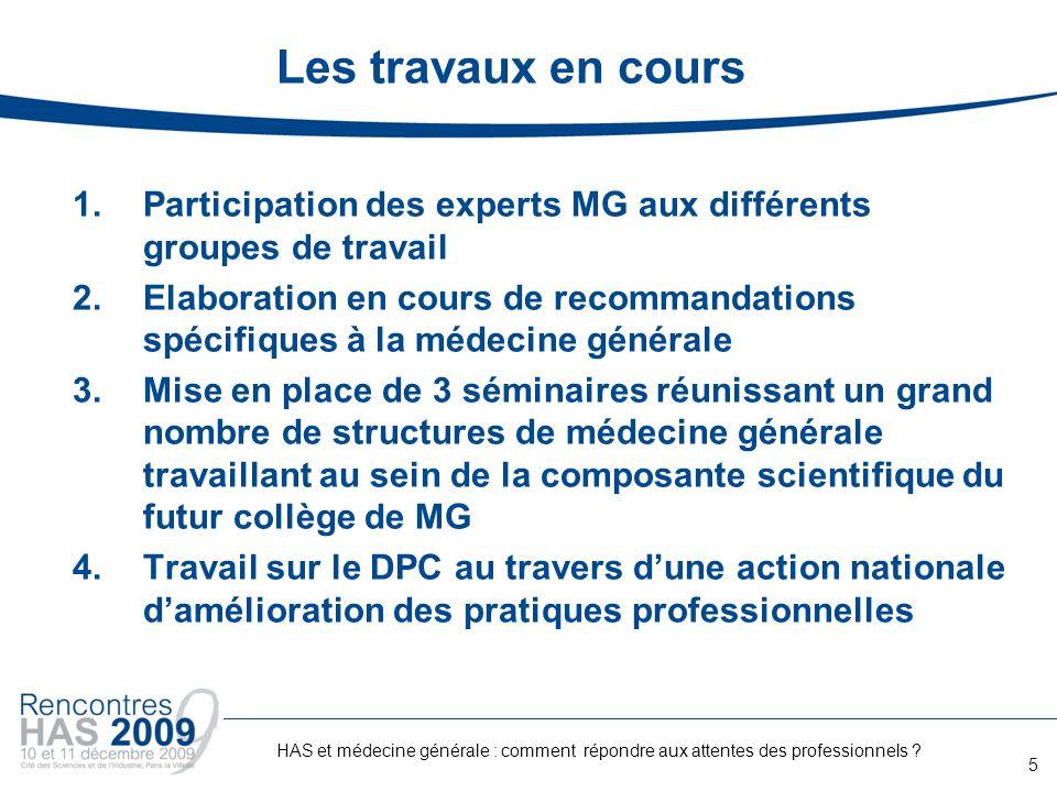 Les travaux en cours Participation des experts MG aux différents groupes de travail.