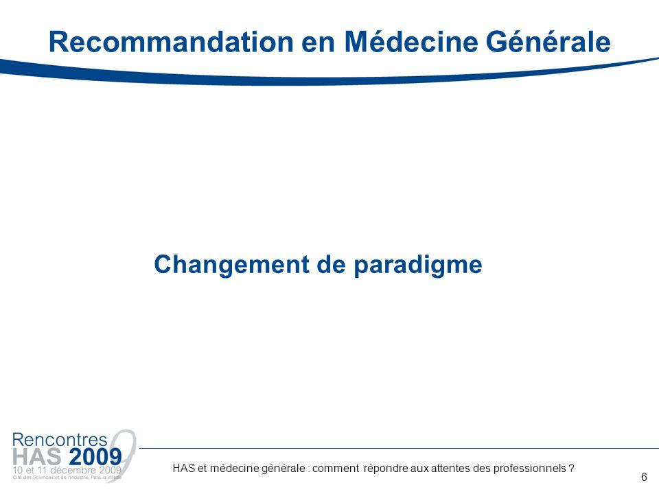 Recommandation en Médecine Générale
