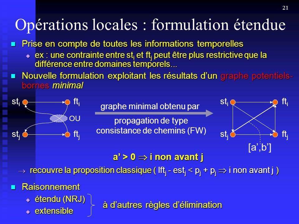 Opérations locales : formulation étendue