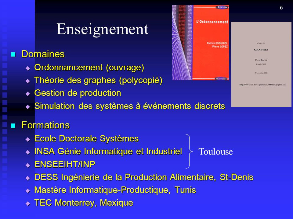 Enseignement Domaines Formations Toulouse Ordonnancement (ouvrage)