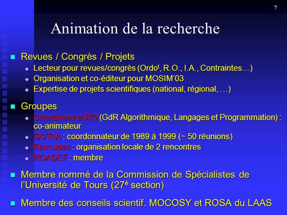 Animation de la recherche