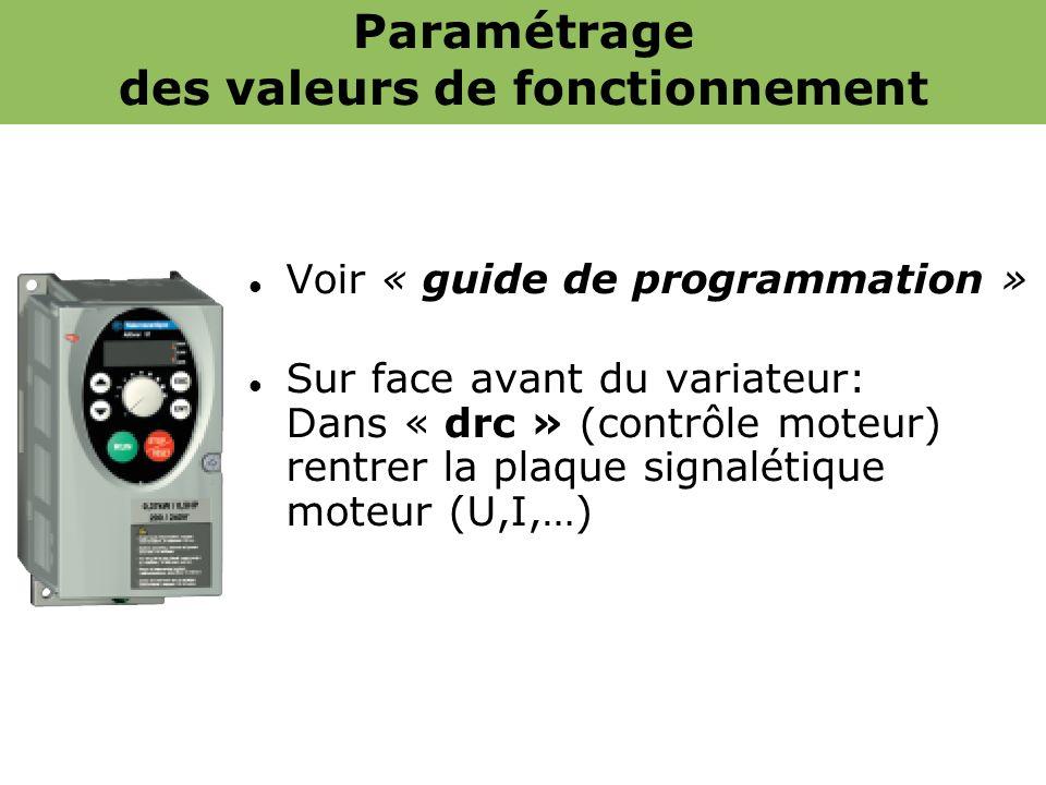 Paramétrage des valeurs de fonctionnement