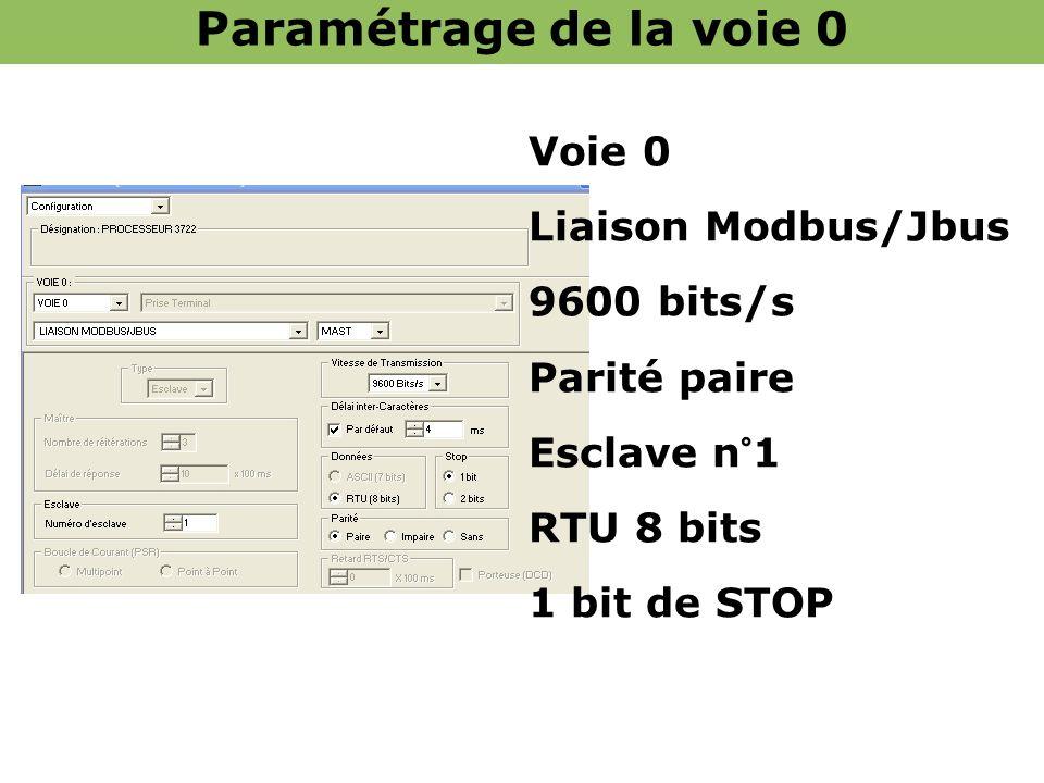 Paramétrage de la voie 0 Voie 0 Liaison Modbus/Jbus 9600 bits/s