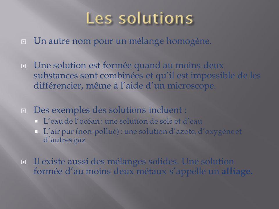 Les solutions Un autre nom pour un mélange homogène.