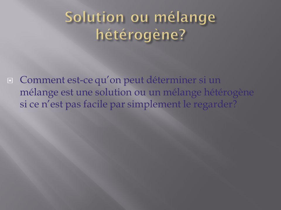Solution ou mélange hétérogène