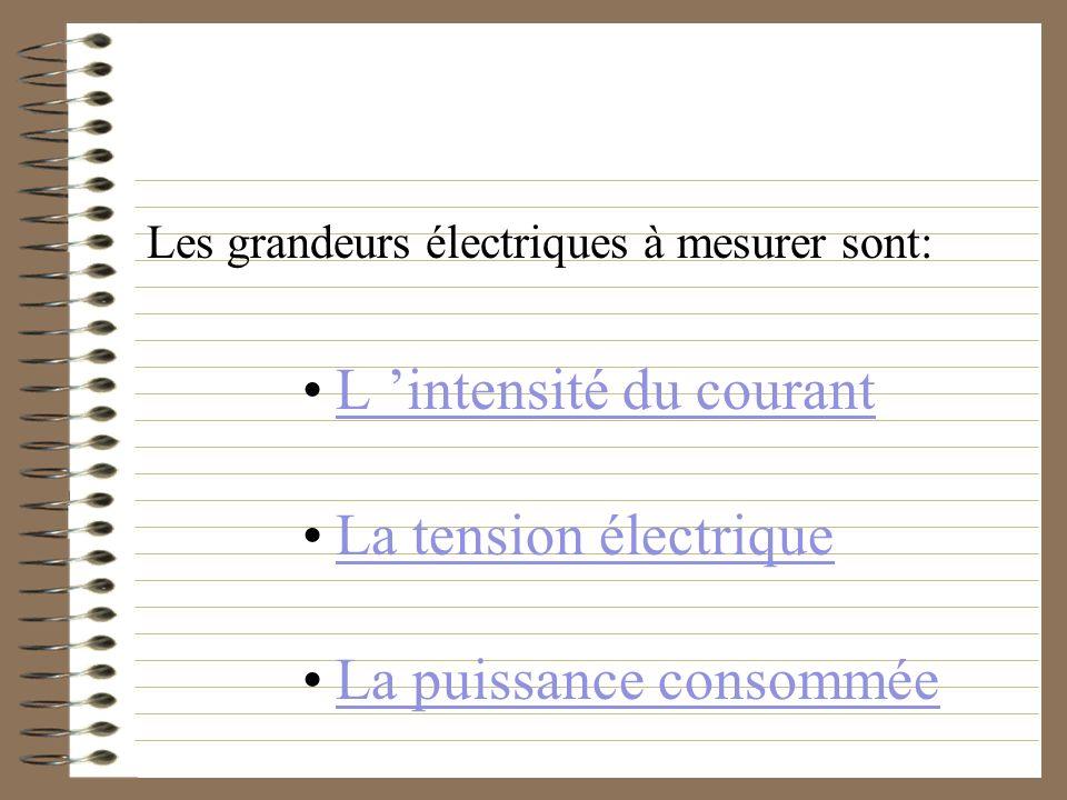 L 'intensité du courant La tension électrique La puissance consommée