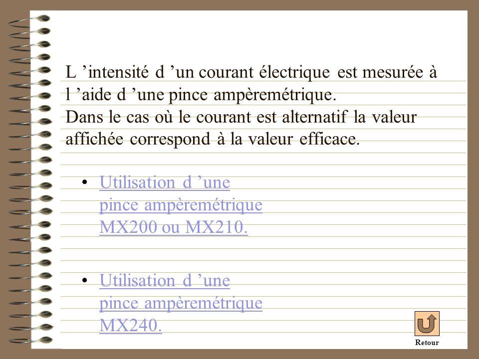 Utilisation d 'une pince ampèremétrique MX200 ou MX210.