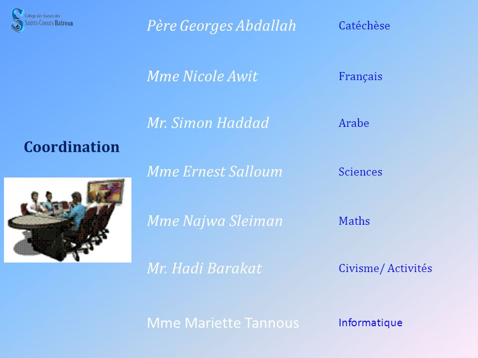 Coordination Père Georges Abdallah Mme Nicole Awit Mr. Simon Haddad