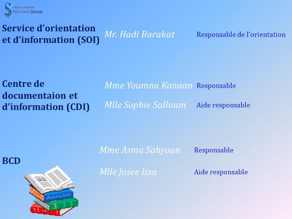 Service d'orientation et d'information (SOI) Mr. Hadi Barakat