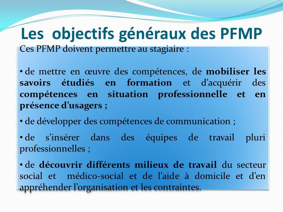 Les objectifs généraux des PFMP