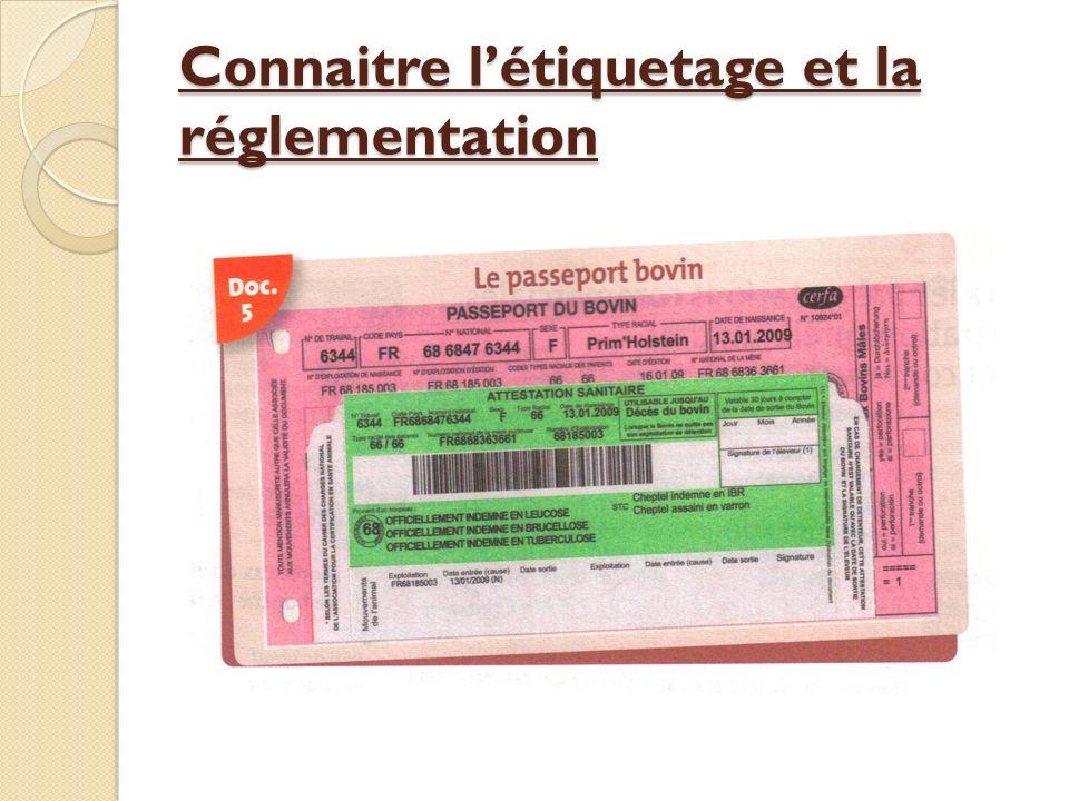 Connaitre l'étiquetage et la réglementation
