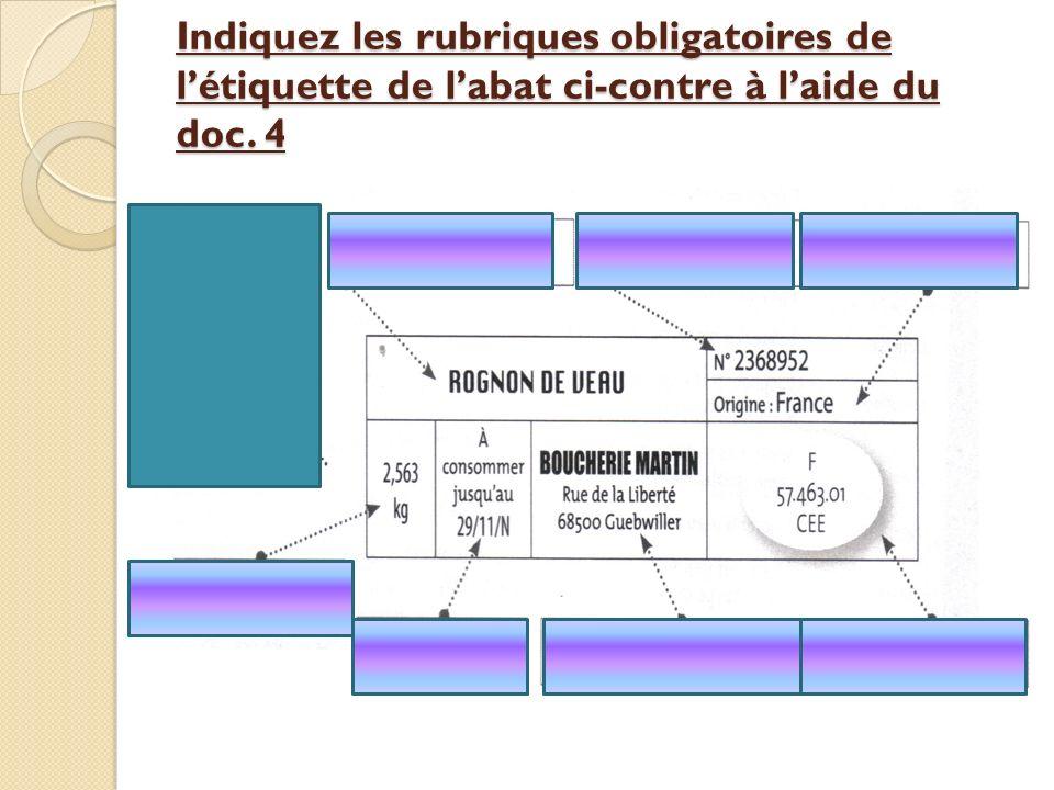 Indiquez les rubriques obligatoires de l'étiquette de l'abat ci-contre à l'aide du doc. 4