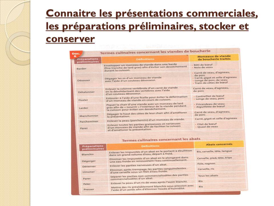 Connaitre les présentations commerciales, les préparations préliminaires, stocker et conserver