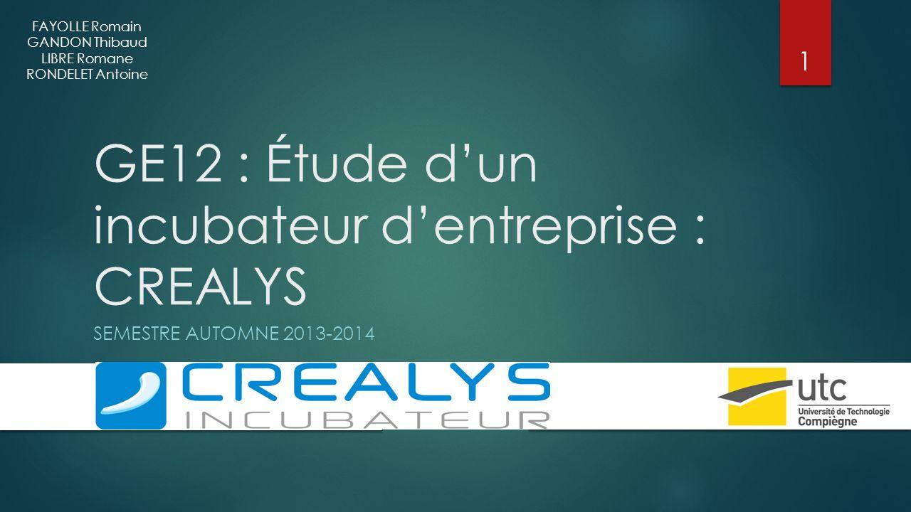 GE12 : Étude d'un incubateur d'entreprise : CREALYS