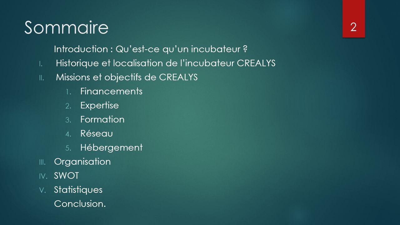 Sommaire Introduction : Qu'est-ce qu'un incubateur