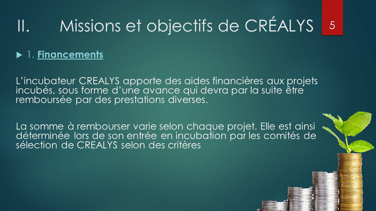 II. Missions et objectifs de CRÉALYS