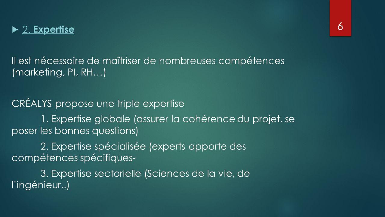 2. Expertise Il est nécessaire de maîtriser de nombreuses compétences (marketing, PI, RH…) CRÉALYS propose une triple expertise.