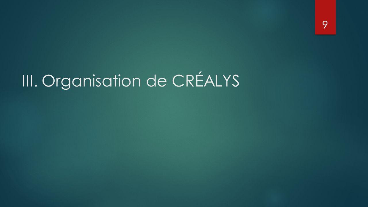 III. Organisation de CRÉALYS