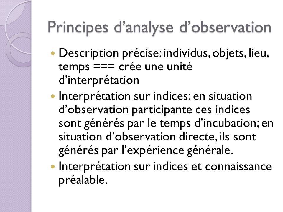 Principes d'analyse d'observation
