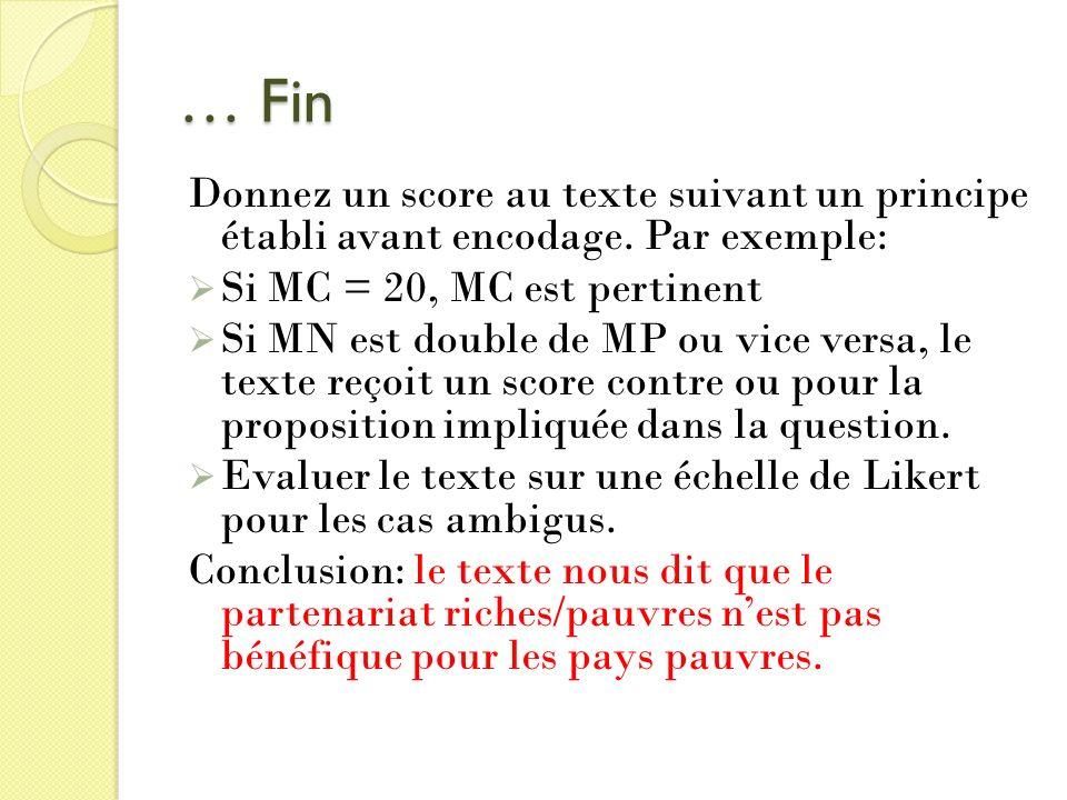 … Fin Donnez un score au texte suivant un principe établi avant encodage. Par exemple: Si MC = 20, MC est pertinent.