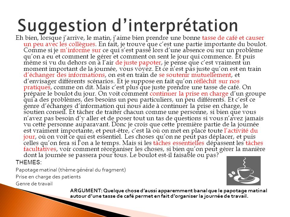 Suggestion d'interprétation