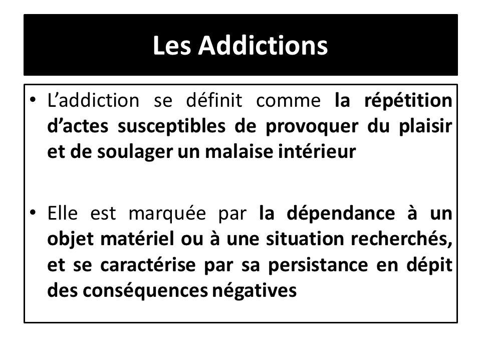 Les Addictions L'addiction se définit comme la répétition d'actes susceptibles de provoquer du plaisir et de soulager un malaise intérieur.