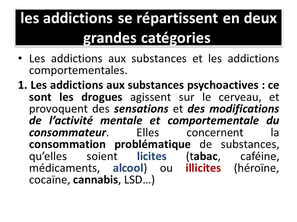 les addictions se répartissent en deux grandes catégories