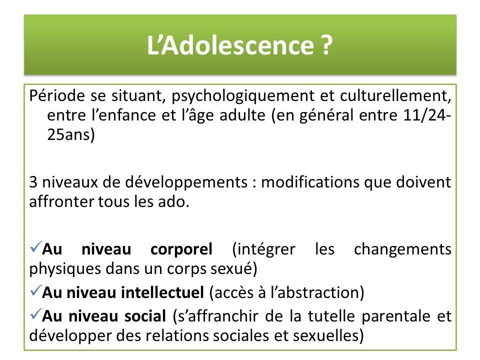 L'Adolescence Période se situant, psychologiquement et culturellement, entre l'enfance et l'âge adulte (en général entre 11/24-25ans)