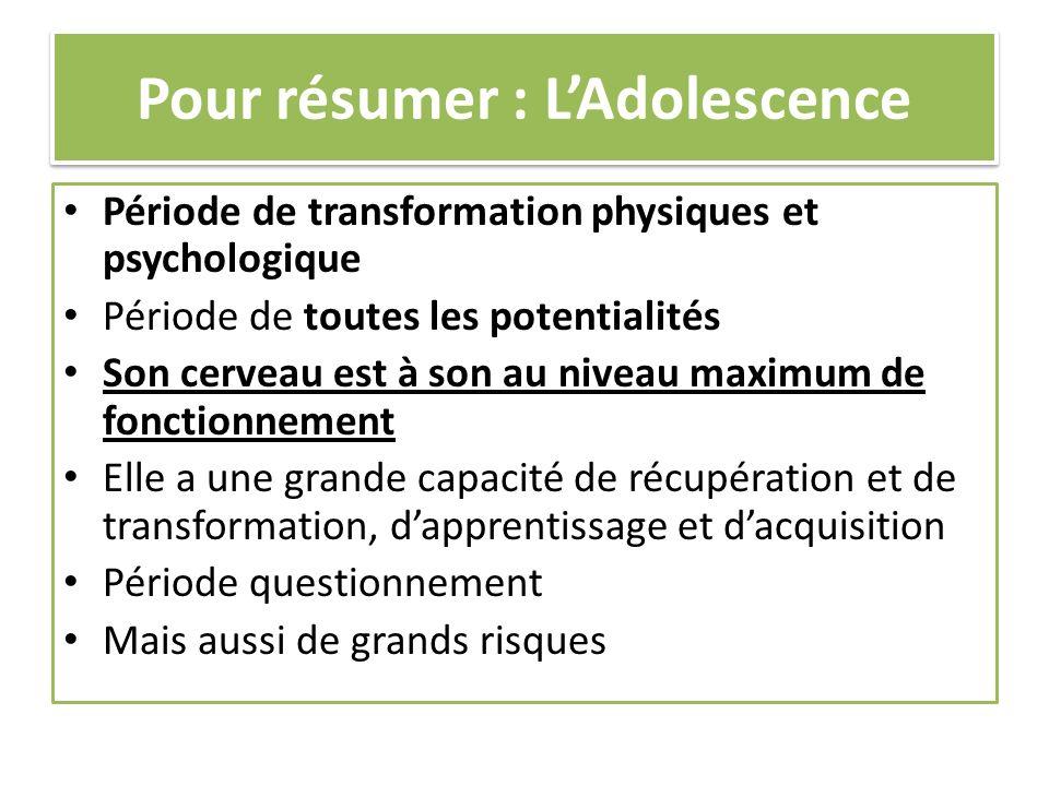 Pour résumer : L'Adolescence